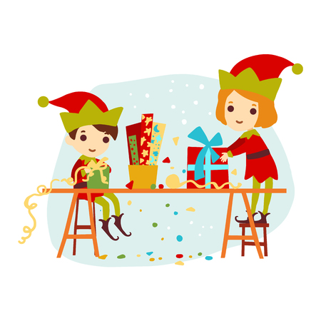 desk toy: Christmas boy and girl elf packaged gift for Santa Claus