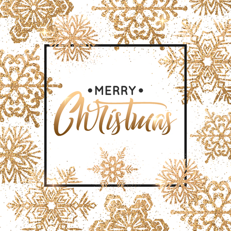 Elegant Christmas background with gold snowflakes for greeting card, holiday design.