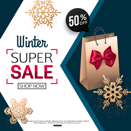 sell: Winter Sale banner with package. Vector illustration