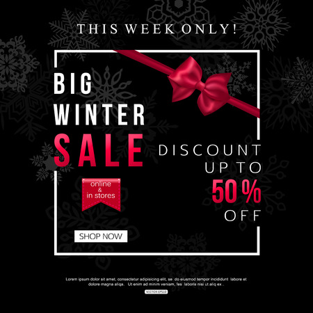 Black Winter Sale Banner design for shop, oline store. Vector illustration
