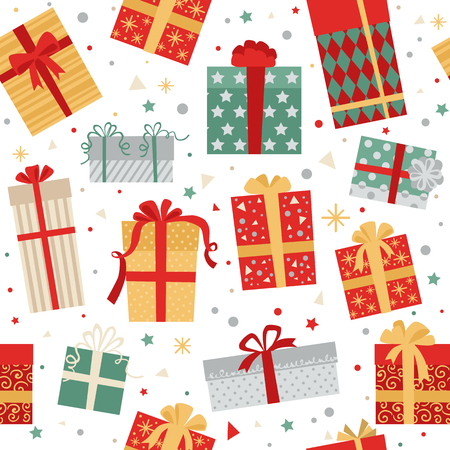 gift pattern: Christmas seamless pattern of gift boxes vector illustration Illustration