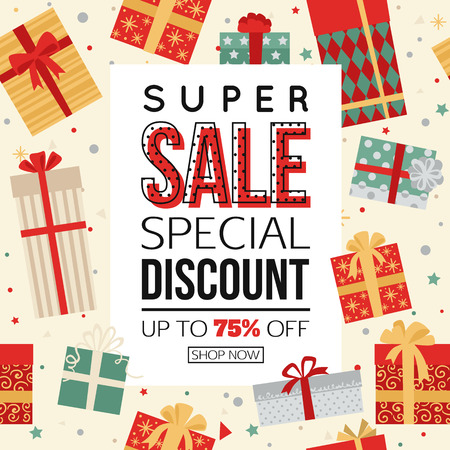 big boxes: Christmas sale banner with gift boxes vector illustration
