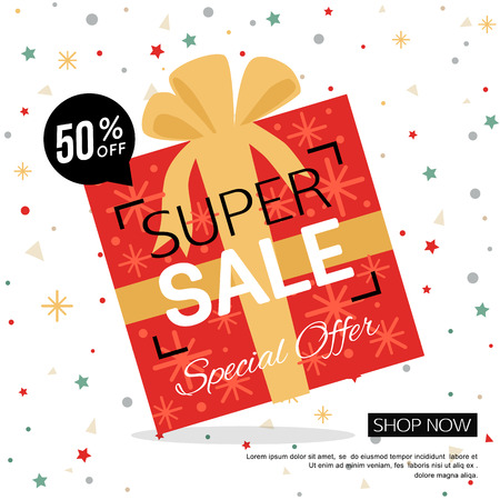 sale shop: Christmas gift box sale banner. Shop poster design vector illustration.