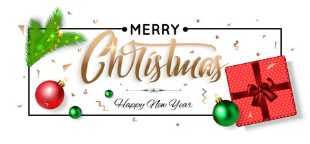 red gift box: Merry Christmas and Happy New Year background with red gift box, balls and fir branch. Top view. Vector illustration.