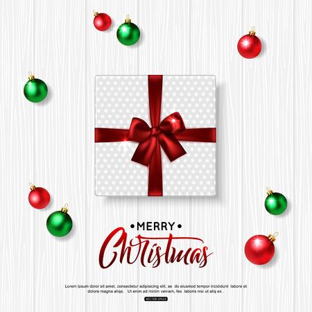 trompo de madera: Feliz Navidad de fondo con bolas verdes, rojas y caja de regalo. Vista superior. Ilustración del vector. Vectores