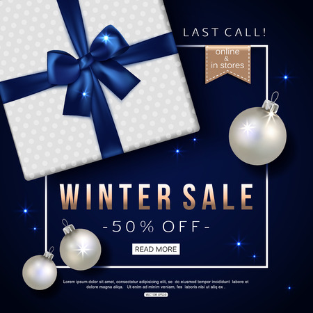 blue ribbon: Winter sale banner with gift box. Top view. Vector illustration.