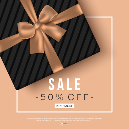 Winter sale banner with gift box. Top view. Vector illustration.