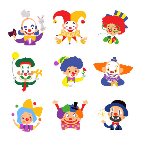 performers: Set of clown cartoon icon isolated on white background. Vector illustration.