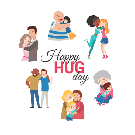 Fondo feliz día del abrazo con personajes de dibujos animados del vector.