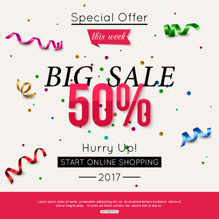hurry up: Hurry up sale banner with bright colorful ribbons. Specialoffer this week. Illustration