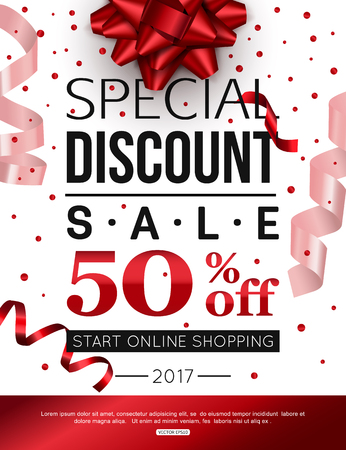 banner design: Special discount sale with red bow and ribbon. Vector banner design.
