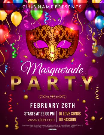 Masquerade party flyer design with carnival mask, balloon, confetti. Vector illustration.