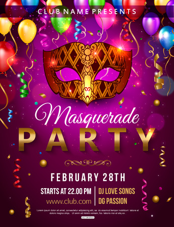 Masquerade party flyer design with carnival mask, balloon, confetti. Vector illustration.