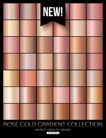 Trend rose gold gradient collection. Vector illustration.