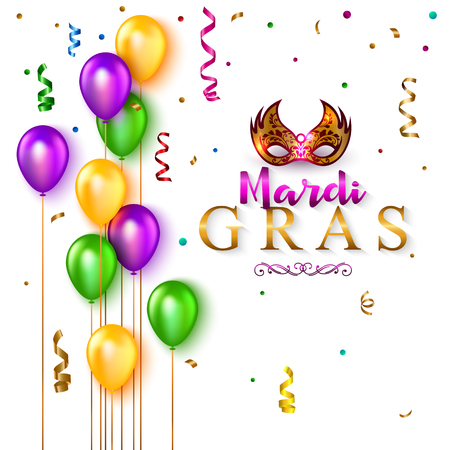 Mardi Gras background with carnival mask, colorful balloon and ribbon. Vector illustration. Illustration
