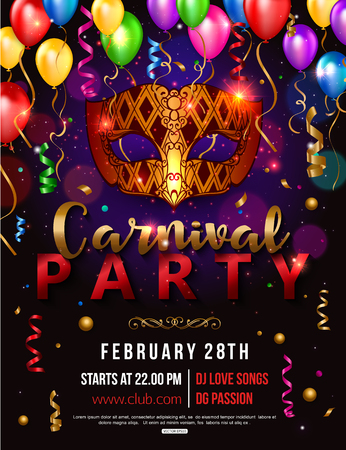 Carnival party flyer design with carnival mask, balloon, confetti. Vector illustration.