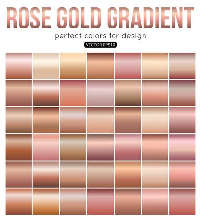 Róża złote gradientu idealne kolory do projektowania. ilustracji wektorowych. Ilustracje wektorowe