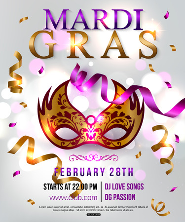 intrigue: Mardi Gras party flyer design with festival mask. Vector illustration. Illustration