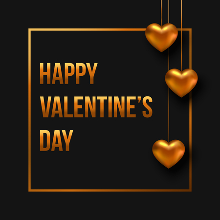 heart month: Valentines day greeting card with hanging gold heart on black background