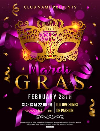 intrigue: Mardi Gras party flyer design with carnival mask. Vector illustration. Illustration
