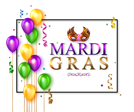 intrigue: Mardi Gras banner with carnival mask, colorful balloon and ribbon. Vector illustration.