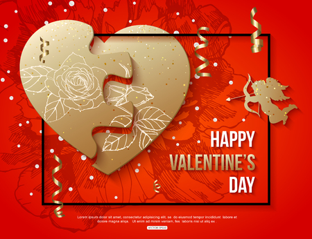 heart month: Valentines Day card with puzzle heart. Vector illustration.