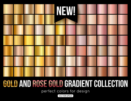 Rose gold gradient collection. Trend colors. Vector metal texture.