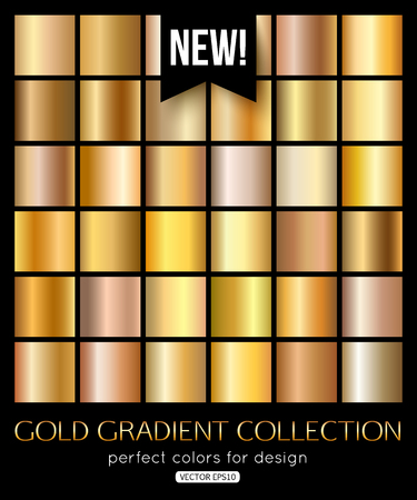 Shiny gold texture, gradient collection. Vector illustration eps 10 format. Illustration