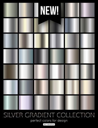 Set of silver, steel, aluminum gradients. Vector texture.