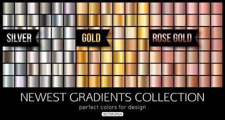 Set van roosgoud, zilveren gradiënten. Glanzende gouden textuur, vectorillustratie. Vector Illustratie
