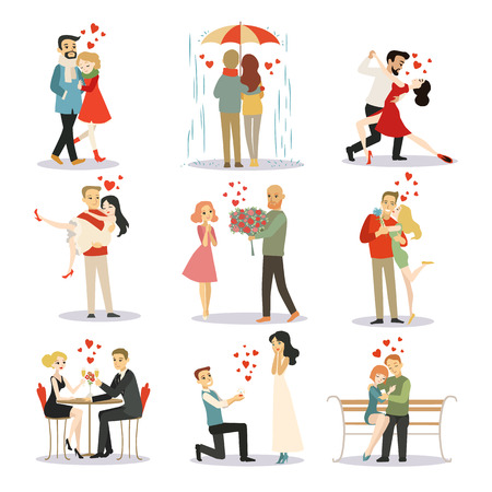 ?ouple in love vector characters isolated