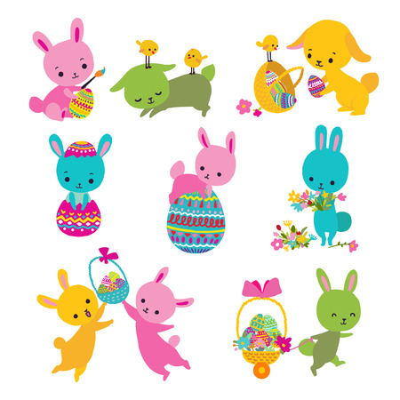 Set of cute Easter bunny with egg, basket and chick. Vector illustration. Illustration