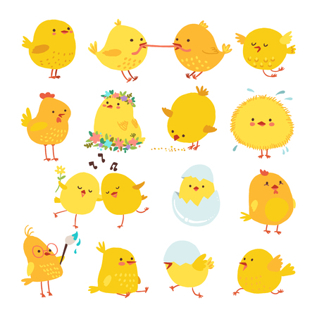 Set of cute cartoon chickens for easter design. Vector illustration.