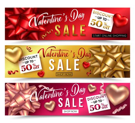 Set of Valentines day sale banner for online shop. Vector illustration.