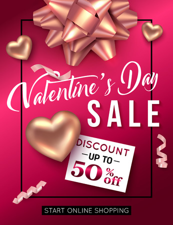 retail sales: Valentines day sale poster template. Vector illustration.