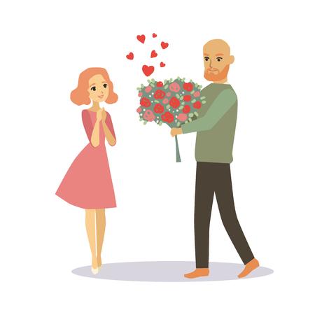 enamorados caricatura: Hombre que da a una niña de un ramo de flores. Amantes de ilustración vectorial de dibujos animados par