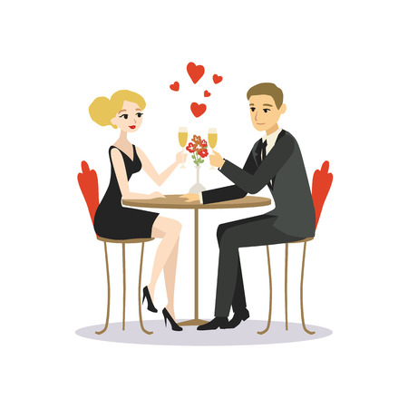 Man and woman dinner in a restaurant. Lovers couple cartoon vector illustration Illustration
