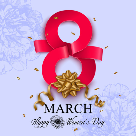 Womens day greeting card. 8 march vector illustration. Illustration