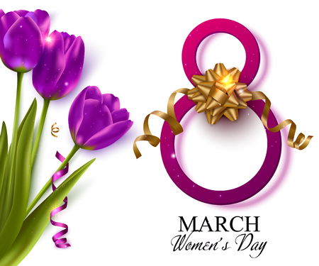 Womens day background with violet tulips gold ribbon. 8 march vector illustration. Illustration
