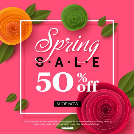 春のオンライン ショッピングのための紙の花で販売バナー広告アクション、雑誌、ウェブサイト。ベクトルの図。