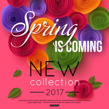 Spring background with paper flowers for online shop, seasonal sales, promotions. Vector illustration. Illustration