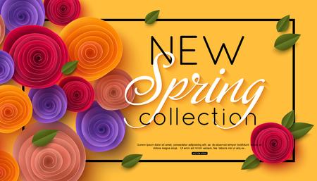 春のオンライン ショッピングのための紙の花のバナー広告のアクション、雑誌、ウェブサイト。ベクトルの図。