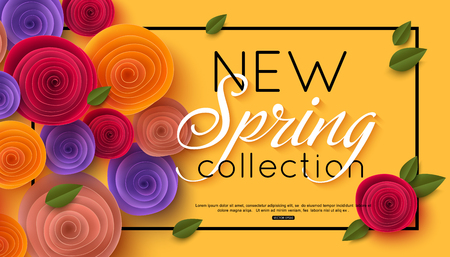 Voorjaarsbanner met papieren bloemen voor online winkelen, reclameacties, tijdschriften en websites. Vector illustratie. Stockfoto