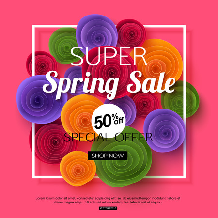 half price: Spring sale banner with paper flowers for online shopping, advertising actions, magazines and websites. Vector illustration