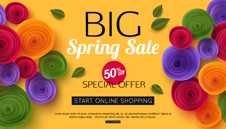 Spring sale banner with paper flowers for online shopping illustration spring sale banner with paper flowers for online shopping advertising actions magazines and websites vector illustration mightylinksfo