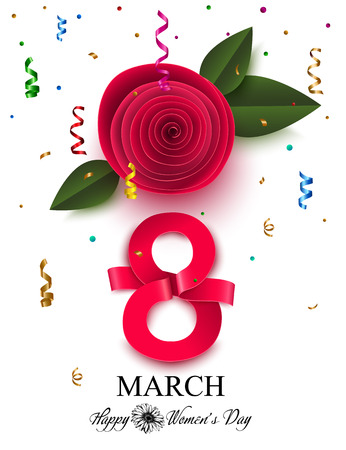 Womens day background with paper flower. 8 march vector illustration.