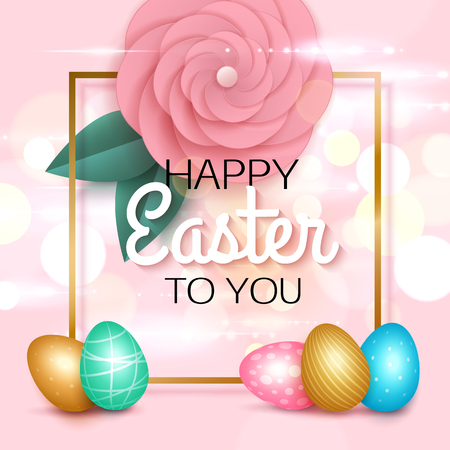 rosy: Easter greeting card with colorful eggs paper rose