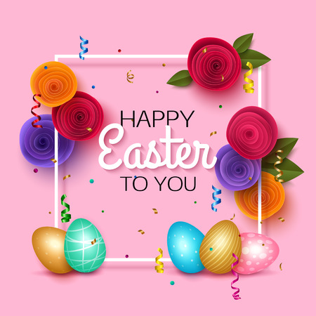 greeting card background: Easter greeting card with colorful eggs pink background