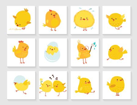 ひよこと子供のためのイースターのグリーティング カード セット  イラスト・ベクター素材