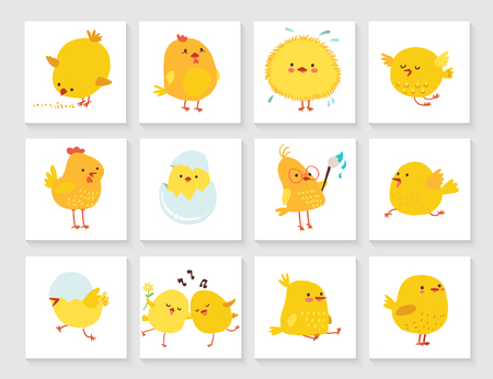 Set of easter greeting card for kids with chick Illustration